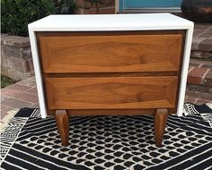 Furniture Refinishing - American of Martinsville Nightstand Refinish - White & Wood. Los Angeles, CA (San Fernando Valley)