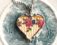 1920's pinstripe roses broken china jewelry heart pendant necklace pink roses