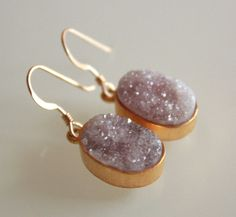 Rough Mauve Agate Druzy Earrings  Very Sparkly  Agate by OhKuol, $70.00