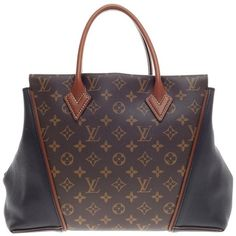 Pre-Owned Louis Vuitton W Tote Monogram Canvas and Leather PM ($3,725) ❤ liked on Polyvore featuring bags, handbags, tote bags, brown, leather tote, leather tote bags, brown leather tote, leather tote handbags and handbags totes