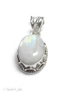 Sterling Silver Natural Rainbow Moonstone Pendant – Sparkle & Jade