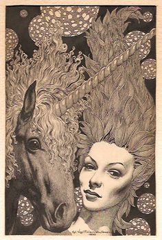 Virgil Finlay, Daemon by C.L. Moore, Famous Fantastic Mysteries 46-10. Usually the illustration is inspired by the story, but in this case the Finlay illustration came first and the story was created to fit it.