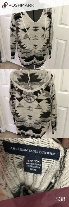 American Eagle cotton hooded sweater Extra roomy cozy American Eagle sweater. So cute over tights. Very soft, 100% cotton American Eagle Outfitters Sweaters