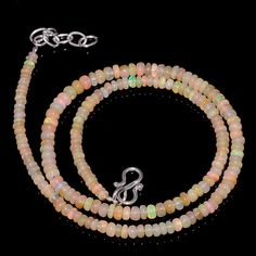 "42CRTS 3.5to4.5MM 18"" ETHIOPIAN OPAL RONDELLE BEAUTIFUL BEADS NECKLACE OBI2058 #OPALBEADSINDIA"
