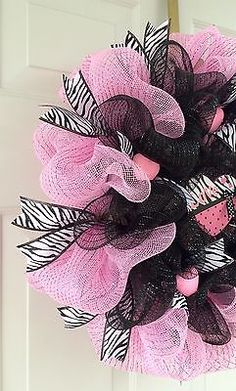 Valentine's Day Light Pink And Black Deco Mesh Wreath With Zebra Ribbon