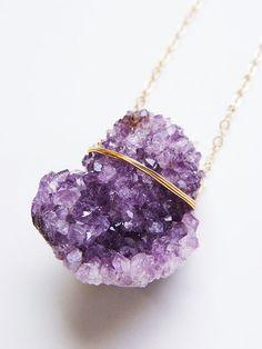 SALE Lavender Amethyst Crystal Necklace  Gold F by friedasophie