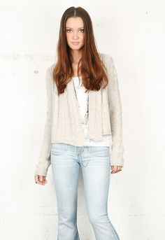 Splendid Classic Cable Open Cardigan in Oatmeal