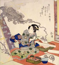 Totoya Hokkei Woman Painting a Dragon woodblock print ca. 1832