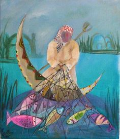 Iraqi art,  Kautha, Iraq:  Marshes Man, Oil on Canvas,  12 X 14 inches, 2006
