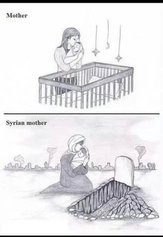 A mother and be mother in Syria Children Of Syria, Save Syria, Help Syria, If I Can Dream, Pictures With Deep Meaning, Satirical Illustrations, Anime Muslim, Sad Pictures, Dear Mom