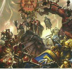 Age of Sigmar Khorne forces attack Warhammer Art, Warhammer Fantasy, Fantasy Warrior, The Grim, Fantasy Artwork, Fantasy World, Old World, Art Reference, Comic Art