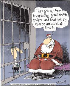 Bad Santa Humor: The Flying McCoys by Glenn and Gary McCoy ~ Christmas Humor ~ Santa after Christmas Christmas Comics, Christmas Jokes, Christmas Cartoons, Christmas Fun, Xmas, Christmas Pictures, Cartoon Jokes, Funny Cartoons, Funny Comics