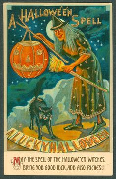 Vintage ISL Co. Halloween Postcard - Made In Germany - Witch JOL On Stick Cat