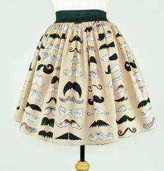 Skirt Mustache Pleated Full Skirt / Moustache by VintageGaleria, $39.95