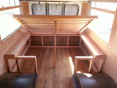 caravan makeover 331155378851963981 - Bendy Bus House: Fire escape hatch, lift up bed & lights Source by kirstikin