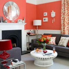 salon en chocolate y naranja   Decorar tu casa es facilisimo.com