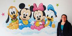 baby disney wanddecoratie, door BIM Muurschildering, kan naar wens aangepast worden.   baby disney mural painting, pluto, mickey mouse, minnie mouse, donald duck