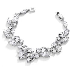 Mariell Mosaic Shaped CZ Wedding Bracelet in Silver Rhodium. Petite Size, Perfect for Smaller Wrist! *** Learn more by visiting the image link. Bridal Jewelry Sets, Bridal Earrings, Boho Jewelry, Wedding Jewelry, Fashion Jewelry, Silver Jewelry, Jewellery, Wedding Accessories, Silver Earrings