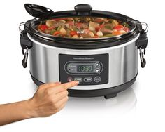Prepare up to 5 quarts of delicious food (perfect size for lb chicken or two lb roasts) with this Hamilton Beach Stay or Go 33957 slow cooker. Features…Read more of Hamilton Beach 33957 Programmable Stay or Go Slow Cooker, Silver Slow Cooking, Cooking Time, One Pot Dishes, One Pot Meals, Thing 1, Best Slow Cooker, Hamilton Beach, Family Meals, Kitchen Dining