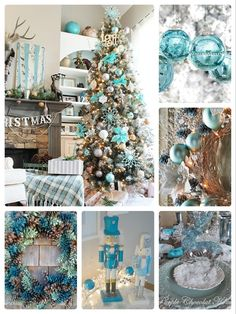 DIY Teal Christmas Decor Ideas for the Home - Party Wowzy Teal Christmas Decorations, Teal Christmas Tree, Elegant Christmas Trees, Coastal Christmas Decor, Christmas Tree Themes, Christmas Colors, Christmas Christmas, Turquoise Decorations, Frozen Christmas