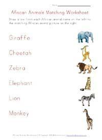 printable africa animals word matching