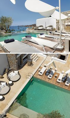 Sun lounges surround the hotel pool that incorporates the natural rock, and also has sea views.