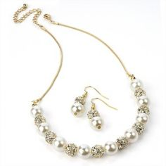 Gold Colour Necklace with Matching Earring Set Pearl Effect