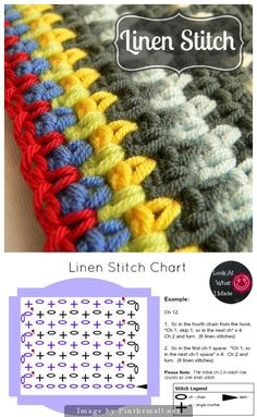 """Excellent #Crochet #Tutorial for making the Linen Stitch. Includes step-by-step detailed pictures and text."" #KnittingGuru http://www.pinterest.com/KnittingGuru"