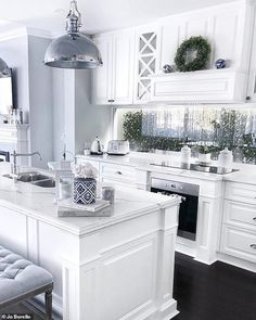 A young woman with an incredible 'Hamptons-style' home in Perth has revealed the DIY secrets behind her beautiful property (pictured: her kitchen) Home Decor Kitchen, Kitchen Interior, Home Kitchens, Hamptons Style Decor, Hamptons Style Bedrooms, Hamptons Living Room, Pavillion, Cuisines Design, Küchen Design