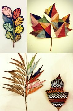 craft ideas for using autumn leaves - garlands, painted leaves and a photo display. Leaf Crafts, Diy And Crafts, Arts And Crafts, Autumn Crafts, Nature Crafts, Deco Nature, Painted Leaves, Leaf Art, Autumn Leaves