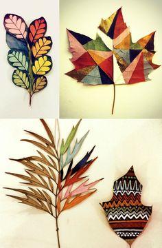 DIY painted leaves - leaf - autumn - fall - colorful - decor