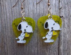 Snoopy with Red Heart Charm Guitar Pick Earrings - Pick Your Color by ItsYourPick on Etsy