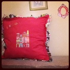 Humble Abode Pillow 20 x 20 Red & Pink Retro by ReincarnationLLC    little town cushion