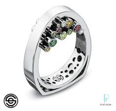 Ring | Erik Stewart. Platinum and coloured diamonds.