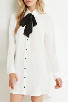 403c091d985666 Stylish Bow Tie Neck Long Sleeve Asymmetrical Women s Dress Snappy Casual