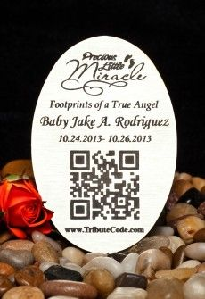 Tribute Code Plaque- Oval. Place at resting site or memorial of loved one. Scan QR Code and be directed to the online memorial page for your departed loved ones that include photos, videos, music, bio and much more.   www.tributecode.com
