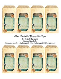 Sweetly Scrapped: Free Printable Blue Mason Jar tags, With Bee and Flowers