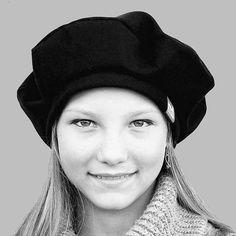 Black French beret  womens black winter cap  ZUTmarie gaberdine beret also available in vintage grey wool pinstripe