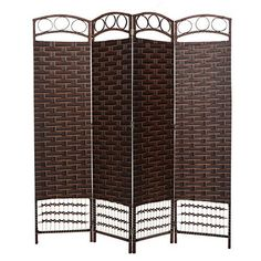 This conveniently folding room divider is the ideal way to keep your home decor fresh and your privacy secure. Whether you use this panel screen for separating out room spaces or for adding a touch of designer style to your home, this is the perfect partition. This panel screen features 4... more details available at https://furniture.bestselleroutlets.com/accent-furniture/room-dividers/product-review-for-brown-wood-frame-4-panel-paper-rope-woven-design-partition-room-divider