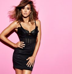 90e3ba70987e Jessica Alba in our exposed bustier cocktail dress with lace organza  neckline for Cosmopolitan March issue.