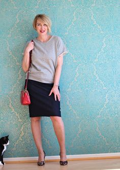 A fashion blog for women over 40 and mature women Sweatshirt: Sincerely Jules Skirt: Cos Bag: Michael Kors Shoes: Latouche