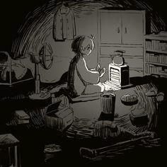 My room is my refuge Dark Art Illustrations, Illustration Art, Arte Indie, Sun Projects, Arte Obscura, Vent Art, Sad Art, Dark Anime, Japanese Artists