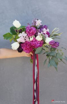 Lavender Purple Spring Bouquet - DIY tutorial on Flower Muse blog Spring Flower Bouquet, Spring Wedding Flowers, Diy Bouquet, Bouquets, Lilac, Lavender, Purple, Spring Wedding Inspiration, Fairy Lights