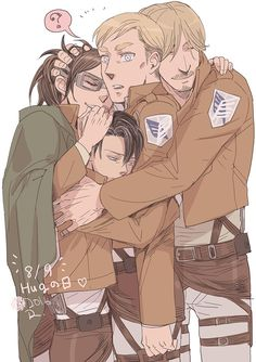 ERWIN LOOKS SO SURPRISED AWWWW POOR BEAN AND THEN LEVI AND THIS IS PERFECTION I SWEAR