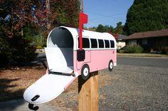 Pink Volkswagen Bus Mailbox
