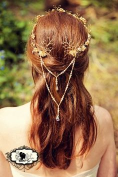 In silver with crystals and beads and rainbow glimmer crystals Bridal hair #faerie