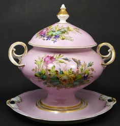 Hand Painted Soup Tureen Italy | 248 - KPM GERMAN PORCELAIN SOUP TUREEN WITH UNDERPLATE