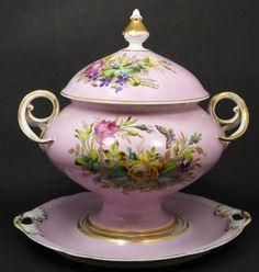 KPM German Porcelain Soup Tureen w/ Underplate, circa 1840-1895