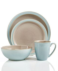 Denby Dinnerware, Duets Taupe and Blue 4 Piece Place Setting - Casual Dinnerware - Dining & Entertaining - Macy's