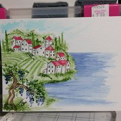 I love watercoloring vineyards. #watercolor #watercolortheartimpressionsway #aistamps
